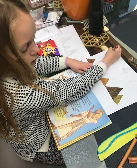 Drawing Pyramids as part of learning about Ancient Egyptians